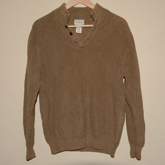 3ee784734614 L.L. Bean Sweaters   Mens Brown Llbean Pullover Corded Sweater L ...